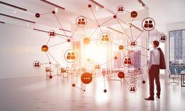 Mise en réseau et concept social de communication en tant que point efficace pour des affaires modernes Photographie stock