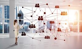 Mise en réseau et concept social de communication en tant que point efficace pour des affaires modernes Photographie stock libre de droits