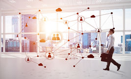 Mise en réseau et concept social de communication en tant que point efficace pour des affaires modernes Photos libres de droits