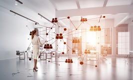 Mise en réseau et concept social de communication en tant que point efficace pour des affaires modernes Images stock