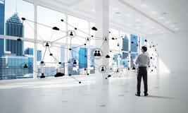 Mise en réseau et concept social de communication en tant que point efficace pour des affaires modernes Photos stock