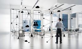 Mise en réseau et concept social de communication en tant que point efficace pour des affaires modernes Image stock