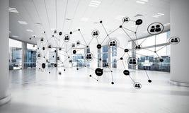 Mise en réseau et connexion sans fil comme concept pour le mode adressage effectif Photos libres de droits