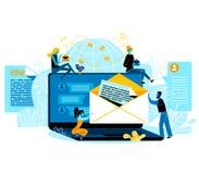 Mise en réseau sociale de médias d'Internet, transmission de messages d'email illustration libre de droits