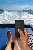 Mise en réseau sociale en vacances photo libre de droits