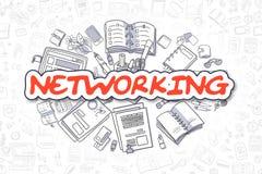 Mise en réseau - griffonnage Word rouge Concept d'affaires Photographie stock libre de droits