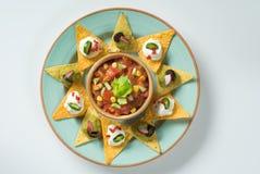 misek nachos salsa Obraz Stock