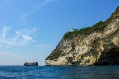 Miseno 在山的灯塔 免版税库存图片