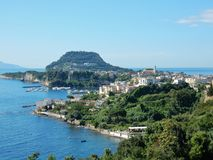 Miseno - Panorama from the castle. Bacoli, Naples, Campania, Italy - June 16, 2018: Panoramic view of Bacoli and Capo Miseno from the Aragonese Castle of Baia Royalty Free Stock Image