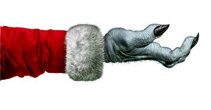 Miser Monster. And cheapskate scrooge hand symbol with wearing a red coat as an icon for winter holiday selfish behavior and selfishness isolated on a white Royalty Free Stock Image
