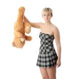 Miserabeles jugendlich Mädchen mit Teddybären Lizenzfreie Stockfotografie