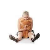 Miserabeles jugendlich Mädchen mit Teddybären Stockfotos