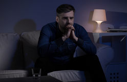Miserable man unable to sleep Royalty Free Stock Photography