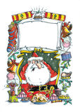 Miserable Santa. Marker illustration created by myself as the artist of a miserable looking santa clause surrounded by christmas related objects. Room for copy royalty free illustration