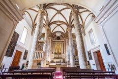 Misericordia教会教堂中殿 晚新生建筑学的16世纪霍尔教会 库存照片