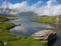 Miserin lake in Champorcher valley. The lake Miserin is a dam at 2550mt slm in Aosta Valley, Italy Stock Images