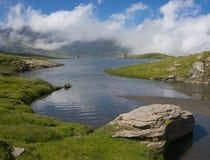 Miserin sjö i den Champorcher dalen Arkivbilder