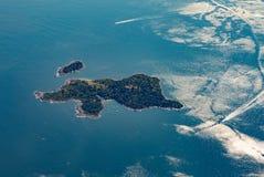 Misery Island, aerial,  Boston, MA, USA on a sunny day. Aproach Boston airport Stock Photos