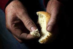 Misery and starvation. Poverty, hunger and misery last bread in hand starvation concept Stock Photos