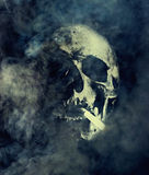 Mises à mort de tabagisme Crâne avec la cigarette entourée par la fumée Photos libres de droits