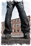 Misfit young man with scattered legs standing in front of a building. Charcoal illustration. Misfit young man with scattered legs standing in front of a building Stock Images