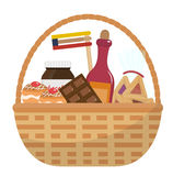Mishloach manot basket with food treats. Purim holiday gift. Jewish carnival present. Vector illustration. Stock Images