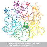 Mishmash of funny insects. The colorful set in vector. Stock Image