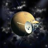 Misión de Cassini que pasa Marte ilustración del vector