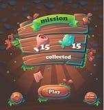 Misión de madera de la ventana de la interfaz de usuario recogida stock de ilustración