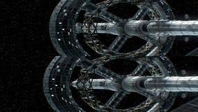Misión en el espacio profundo Par estéreo anamorphic vertical, animación 3d de la gran nave espacial en el fondo de estrellas ilustración del vector