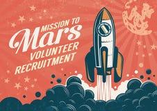 Misión en Marte - cartel en estilo retro del vintage ilustración del vector