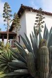Misión española con el cactus Foto de archivo