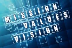 Misión, valores, visión en bloques de cristal azules Imagenes de archivo