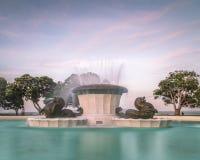 Misi Podpalana fontanna w wieczór Obraz Stock