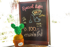 Misia i kawy menu Fotografia Royalty Free