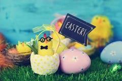 Misia pluszowego kurczątko z signboard z słowem Easter Zdjęcie Royalty Free
