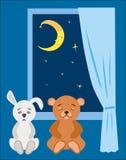 Misia spać w gwiaździstej nocy i mokietu królik Zdjęcie Royalty Free