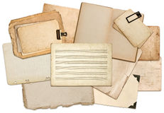 Misic notes paper sheets, book pages, cardboards, photo frames Stock Photography