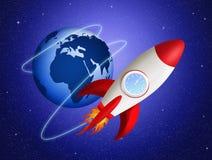 Misil en órbita en espacio stock de ilustración
