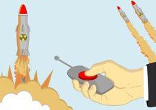 Misiles nucleares de lanzamiento con exposions presionando el al rojo Imagenes de archivo