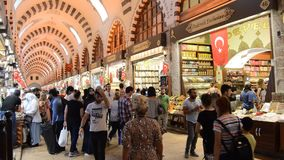 Misir Carsisi Eminonu Ä°stanbul Turkey. In the Misir Carsisi built in the 17th century, locals and tourists from various countries of the world are shopping stock video footage