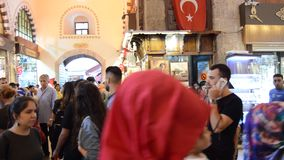Misir Carsisi Eminonu Ä°stanbul Turkey. In the Misir Carsisi built in the 17th century, locals and tourists from various countries of the world are shopping stock video