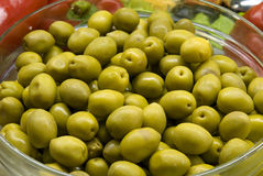 miska zielone oliwki Fotografia Stock