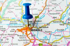 Miskolc on map. With push pin. Mischkolz Stock Photography