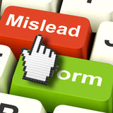 Mislead Inform Computer Shows Misleading Or Informative Advice. Mislead Inform Computer Showing Misleading Or Informative Advice Royalty Free Stock Photos