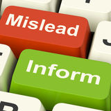 Mislead Inform Keys Shows Misleading Or Informative Advice Royalty Free Stock Photo