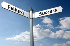 Mislukking of succes stock fotografie