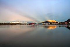 Mismo madrugada en Ushuaia, Tierra del Fuego, Patagonia Foto de archivo libre de regalías