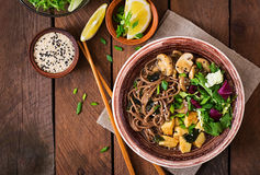 Miso And Soba Noodle Soup Royalty Free Stock Images