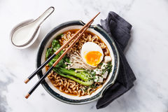 Miso Ramen Asian noodles with egg, enoki and cabbage Stock Photos